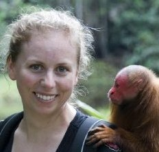 Lauren Brasington with an uakari